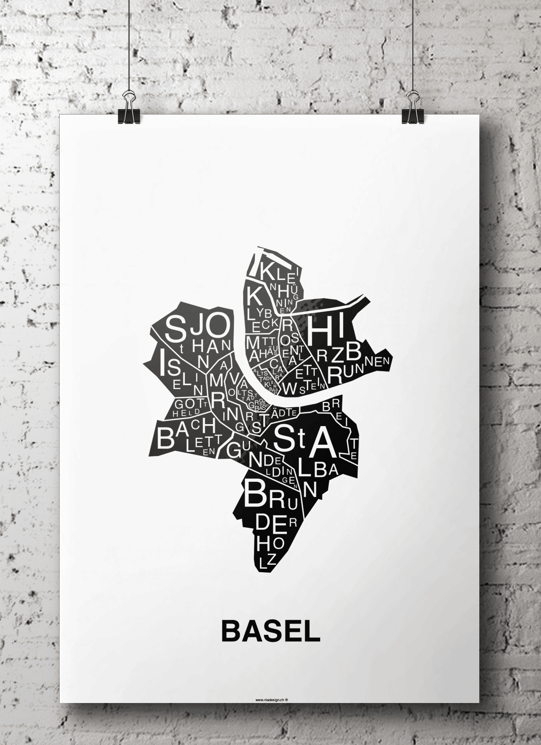 affiche - carte quartier - Basel, Suisse