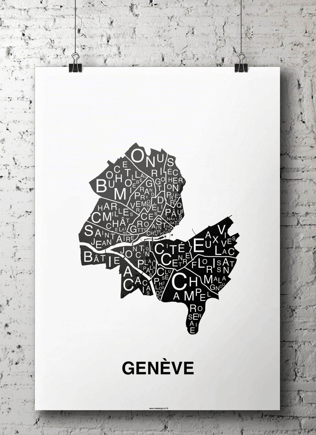 affiche - carte quartier - Genève, Suisse