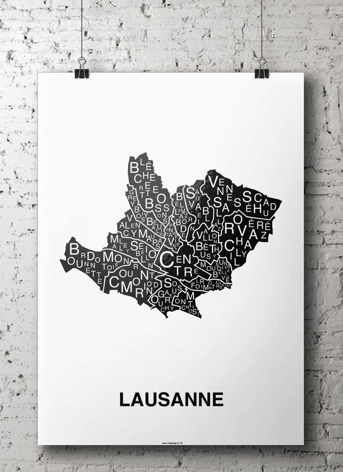 affiche - carte quartiers - Lausanne, Suisse
