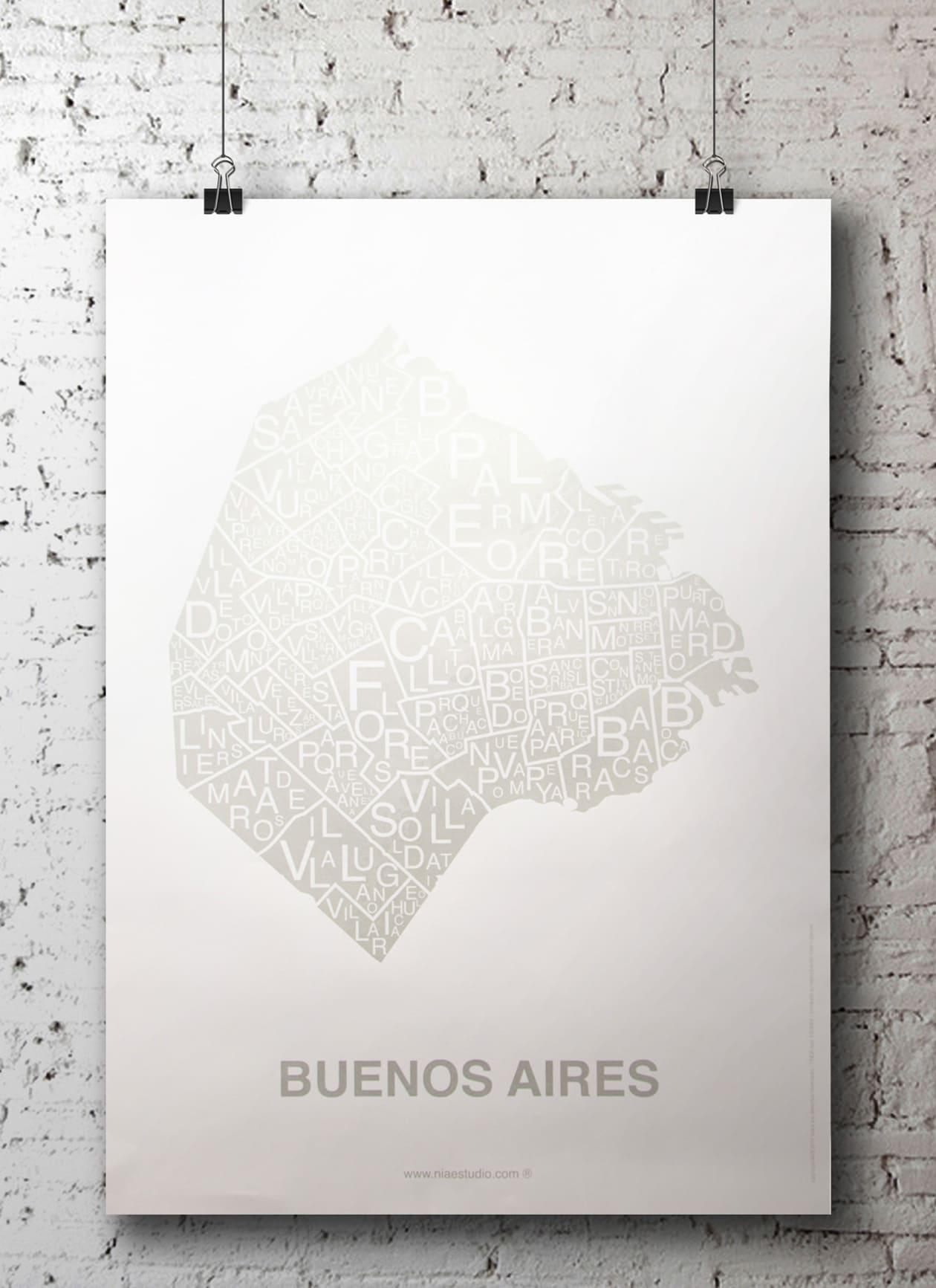affiche - carte quartier - Buenos Aires, Suisse