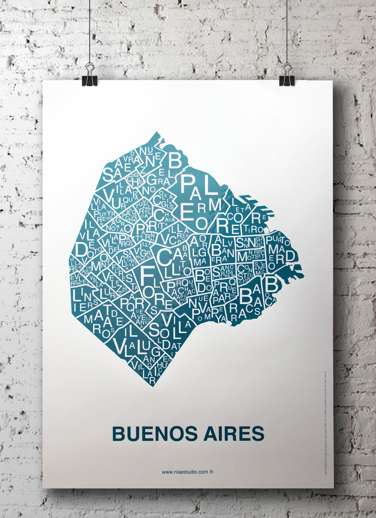 affiche - carte quartier - Buenos Aires, Argentine