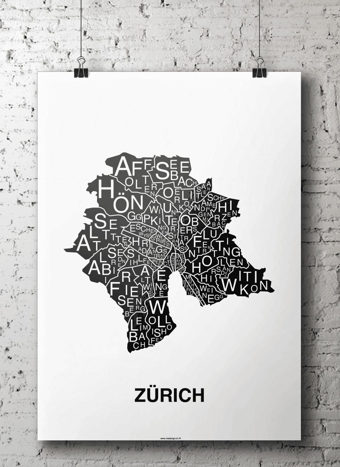 affiche - carte quartier - Zurich, Suisse