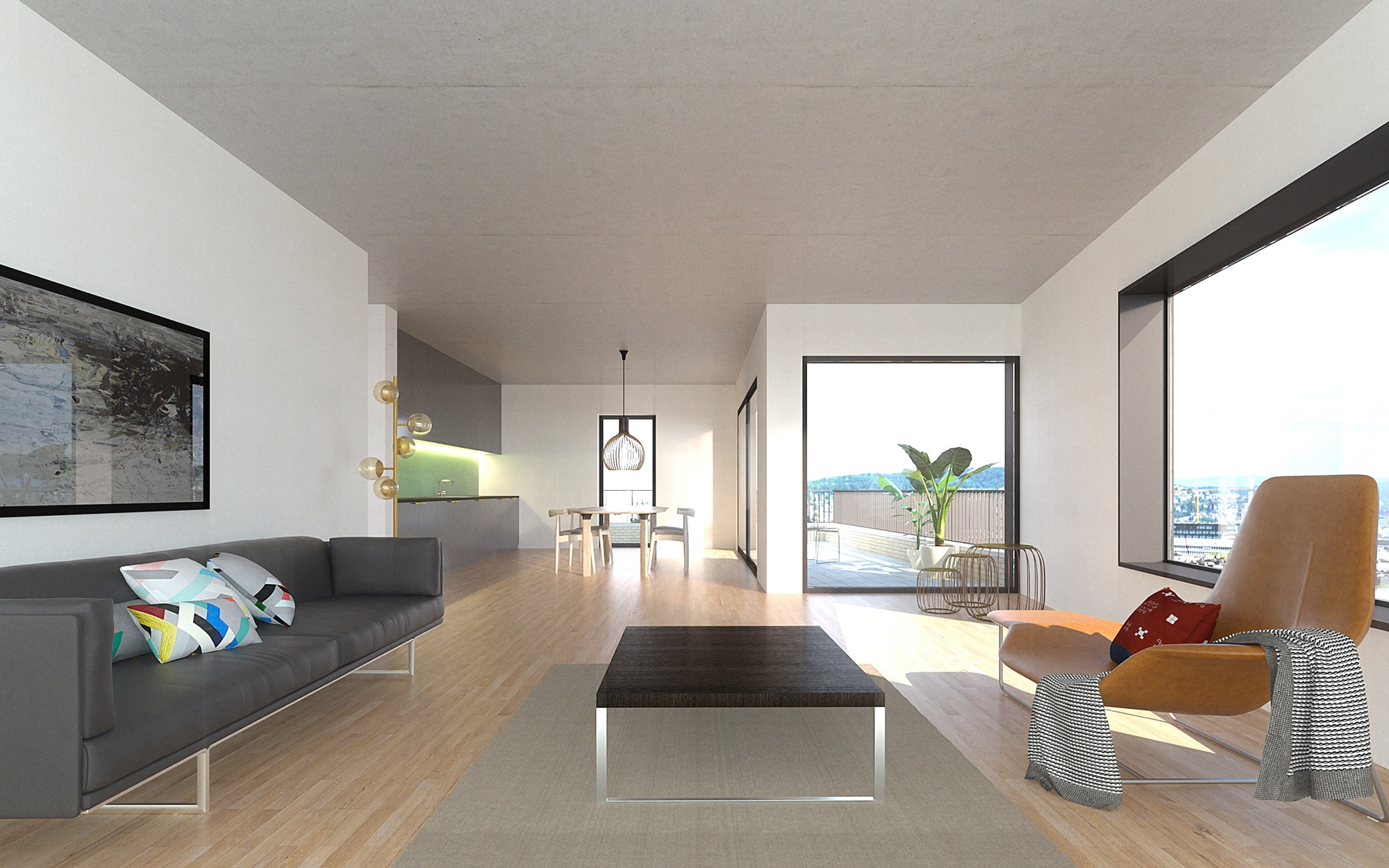 3D image - Interior apartment living room