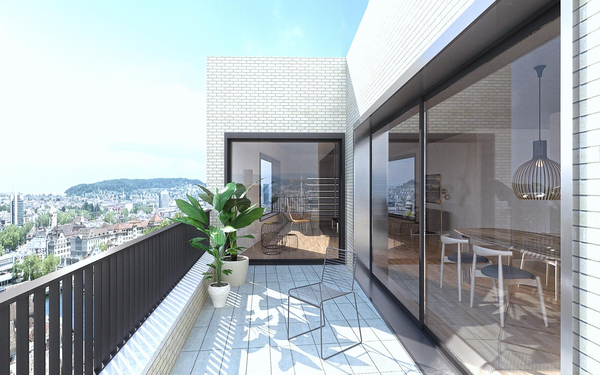 3D image, balcony Zurich Switzerland